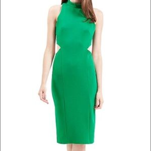Topshop bodycon midi green dress with cut out